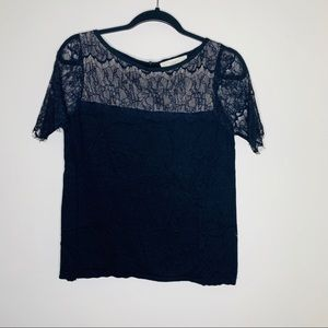 Loft black lace sweater blouse size M